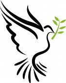 A free flying vector white dove symbol