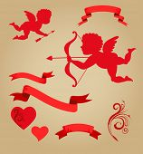 sweet cupids, ribbons and elements for Valentines day
