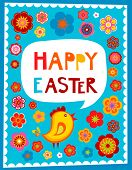 Easter greeting card with blue background