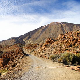 stock photo of dirt road  - Dirt road to the volcano Teide on Tenerife - JPG