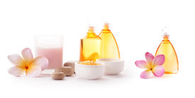 image of cosmetic products  - Bottles of SPA cosmetic products and bath salt - JPG