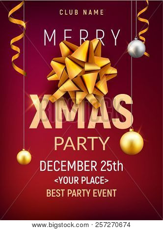 Christmas Party Poster.Christmas Party Poster Template Christmas Gold Silver Balls And Golden Bow Flyer Decoration Invitat Poster