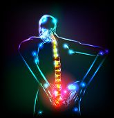 Human backbone in x-ray, back Pain, easy editable