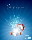 Open explore gift with stars background, easy editable