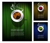 Coffee cup with world map, restaurant poster