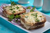 French croque monsieur sandwich with ham, cheese and toasted bread poster