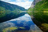 Scenic view of Granvinsvatnet lake in Granvin, Norway