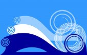 Blue background with twirls. Vector illustration.