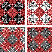 Seamless patterns set with checkered design. Vector art.