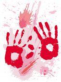 Bloods grunge texture with hands