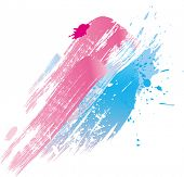 Background of paint splashes and line brushes. Vector