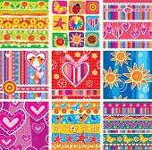 Set of childrens seamless pattern