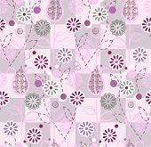 Seamless pattern pink flowers