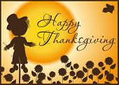 Thanksgiving card - Silhouette of scarecrow in sunflower field
