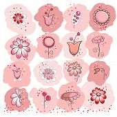 Collection of pink flowers - greeting card