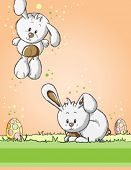 Easter greeting card - Easter eggs and cute bunnies