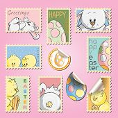 Postal stamps set collection - Easter eggs, bunnies and chickens