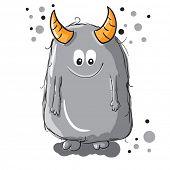 Cute little gray monster