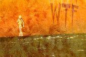 Teen Walking Away with WTF on Wall