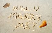 Will U Marry Me Written by Seashell in Sand