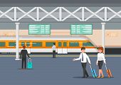 Business People In Modern Train Station Platform poster