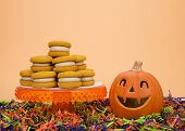 Naturally  Flavored Pumpkin Spice Cookies With Cinnamon Cream Cheese Filling On An Orange Pedestal W poster