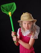 Young Girl in Bee Keeper's Hat Holding Net