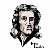 Isaac Newton Watercolor Vector Portrait With Ink Contours. English Mathematician, Astronomer, Theolo poster