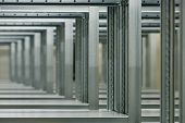 image of lineup  - a lineup of racks for storage in a warehouse - JPG