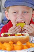 young boy enjoying lunch at patriotic picnic