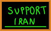 Support Iran written in green on chalkboard