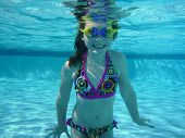 Underwater shot of girl swimming in pool