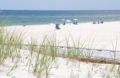 Beachgoers on beautiful Florida Panhandle beach