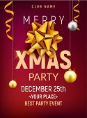 Christmas Party Poster Template. Christmas Gold Silver Balls And Golden Bow Flyer Decoration Invitat poster