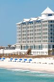 PENSACOLA BEACH -16 MARCH: The Margaritaville Hotel on Pensacola Beach on March 16, 2011. Local businesses hope tourists return to the Gulf Coast near the one year anniversary of the BP oil spill.
