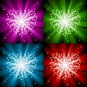 Sparkling background with heart in four colors