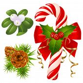 Candy cane, christmas tree, mistletoe and holly