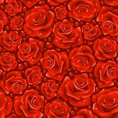 Vector red Rose seamless background