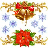 Christmas and New Year design elements set 2. bells and flower