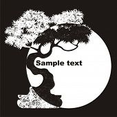 Decorative vector background with a tree silhouette Bonsai