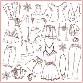 Set of woman summer clothes and accessories (doodle)
