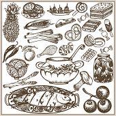 Set of doodle food