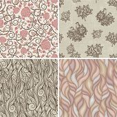 Set of floral retro patterns