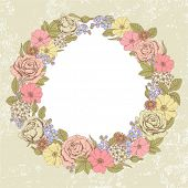 Wreath with roses, a dog-rose, forget-me-nots and iberis