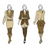 Colección de siluetas de otoñales con estilo de ropa de mujer