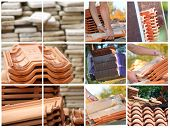 stock photo of roof tile  - Mosaic of terracotta roof tiles - JPG