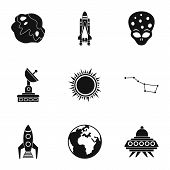 Universe Icons Set. Simple Illustration Of 9 Universe Icons For Web poster