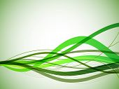 Horizontal green wavy stripes background.