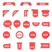 New Sticker Set Labels. Product Stickers With Offer. New Labels Or Sale Posters And Banners. Sticker poster