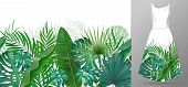 Hand Drawn Realistic Branches And Leaves Of Tropical Plants. Vivid Line Horizontal Leaves Pattern. G poster